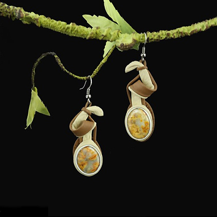 Leather Earrings with Cream Agate
