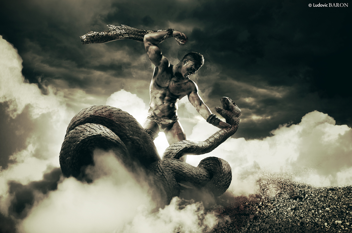 Tableau BATAILLE CONTRE UN SERPENT - photographe graphiste Ludovic Baron 2013 - WEB