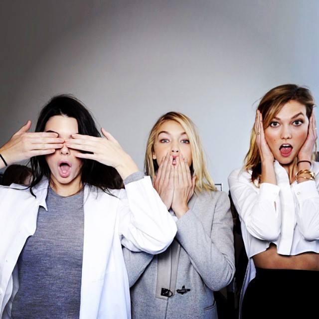 Models Kendall Jenner, Gigi Hadid & Karlie Kloss. Photo: Karlie Kloss / Facebook