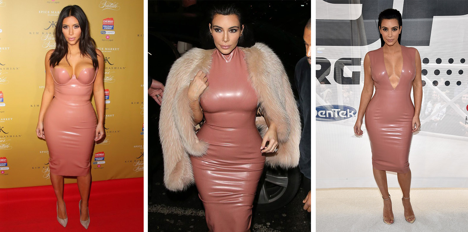 Kim Kardashian West wearing three variations of the latex dress designed by Atsuko Kudo.