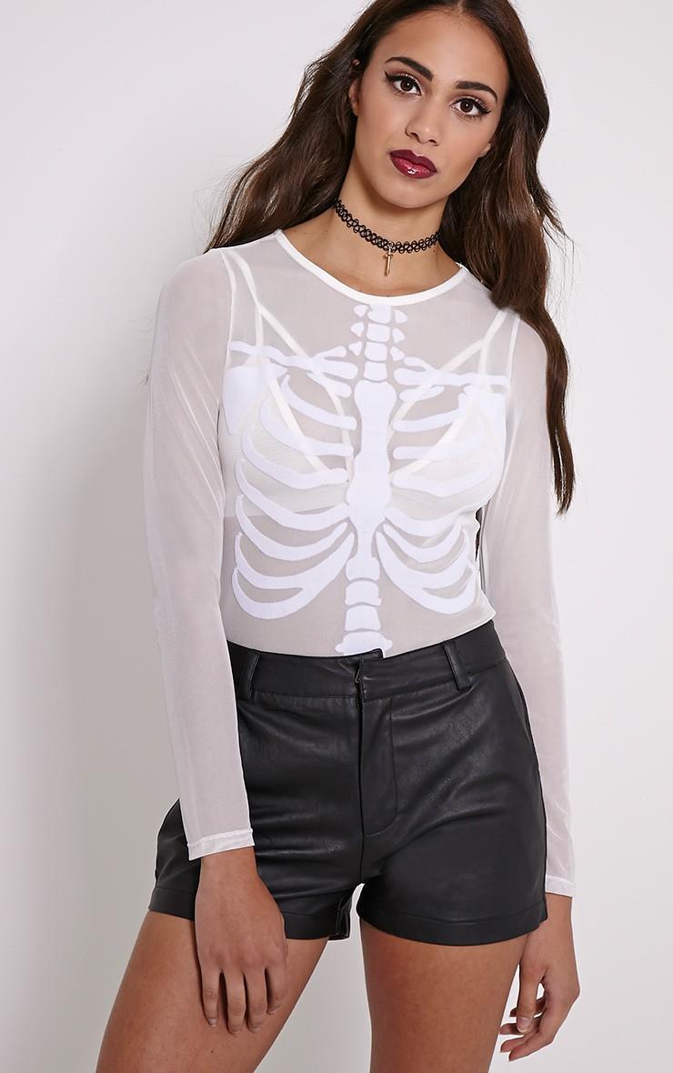 Skeleton Ribs White Mesh  Bodysuit