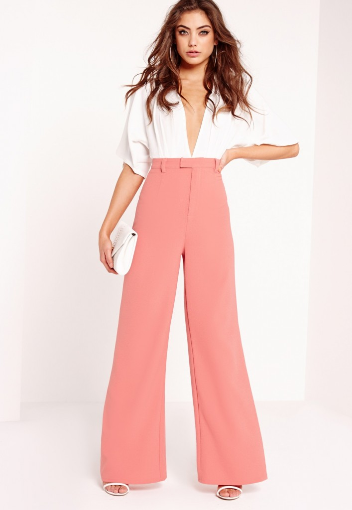 Missguided Crepe Wide Leg Trousers Pink.