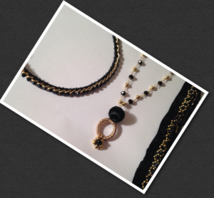 black crystal and gold beaded layered crystal